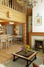 Фото интерьер дом из бруса – дизайн деревянного коттеджа из клееного пиломатериала, имитация поверхностей под брус, русский стиль внутри помещений