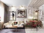 Белый кирпич в интерьере гостиной с обоями – 260+ (Фото) Сочетания. Как Сделать?